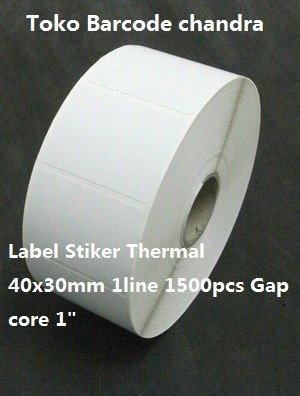 """40x30mm 1line 1500pcs Gap core 1"""",direct thermal,label sticker barcode"""