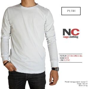 Kaos Baju Polos Lengan Panjang Putih Premium Real Cotton 100%