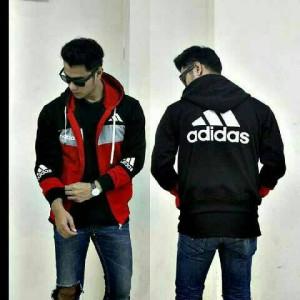 jaket adidas 3D zipper hitam abu merah