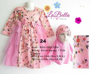 Gamis anak pink tule usia 6-11th