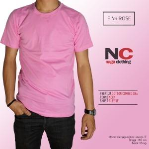 Kaos Baju Polos Pink Rose Real Cotton Combed 30s Reaktif Unisex