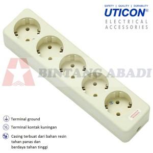 Uticon Stop Kontak Deret 5 Lubang OB Tanpa Kabel SNI / Colokan Listrik