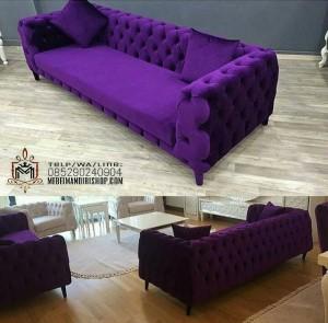Furniture Kursi Sofa Chesterfied Ungu