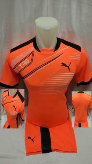 Setelan futsal EVD orange/seragam futsal/kostum bola/jersey bola