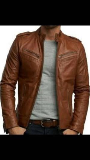 jaket kulit domba asli warna coklat muda