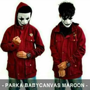 Jaket Pria Parka Canvas Primium Maroon