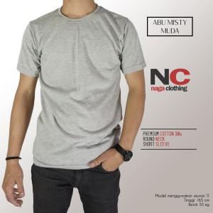 MISTY Baju Kaos Polos Abu Misty Muda Premium 100% Full Cotton Combed