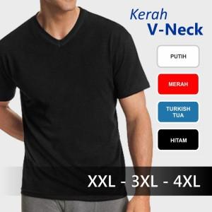 Baju Kaos Polos V-Neck Kaos Oblong Distro Jumbo Big Size XXL 3XL 4XL