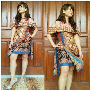 Dress Batik Cap Mix Brokat