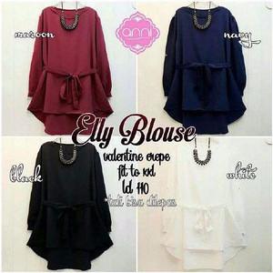 Blouse Elly Fashion Muslim/ Warna Polos Panjang/ Fashionable