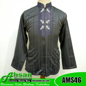 Baju Koko Tasik Motif Aceh AMS46 Abu