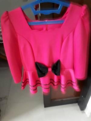Blouse baju pink pita import korea tangan panjang BISA GOJEK