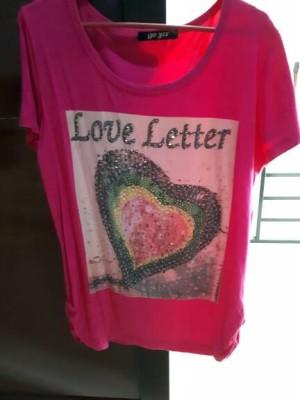 Kaos baju pink love letter import BISA GOJEK