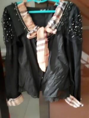 Blouse baju kemeja Burberry import tangan panjang hitam BISA GOJEK