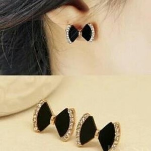 Anting black bow list | aksesoris import murah