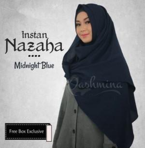 PROMO Jilbab Pashmina Instan Nazaha Biru Dongker SImple Bagus Kekinian