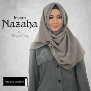 PROMO Jilbab Pashimna Instan Nazaha Grey Abu Kerudung Bergo Exclusive