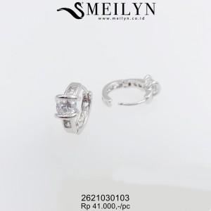 MEILYN ANTING CLIP PERMATA ZIRCON SILVER 2621030103 MEILI
