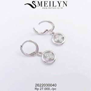 MEILYN ANTING CLIP BULAT ZIRCON SILVER 2622030040 MEILI