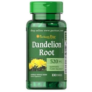 Puritan Pride Dandelion Root 520 mg 100 Caps / Support Fluid Balance