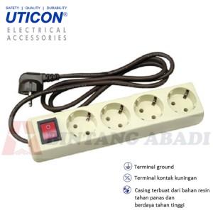 Uticon Stop Kontak 4 Lb + Saklar + Kabel 1.5 Meter / Colokan Listrik