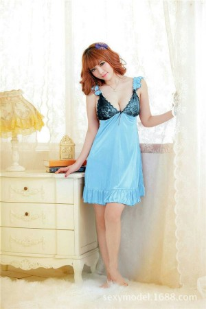 Blue Sky Venezie Nightdress Lingerie -Black Laces +Gstring