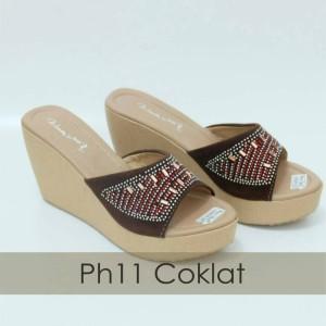 Realpict Women Suede Party Wedges Shoes 8cm - Sandal Pesta Wanita