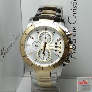 Jam Tangan Pria Alexandre Christie AC6455MC Chronograph Silver Gold