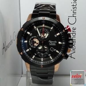 Jam Tangan Pria Alexandre Christie AC6453MC Chronograph Black Rosegold