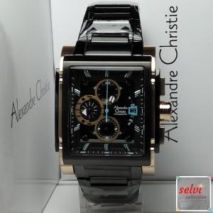 Jam Tangan Pria Alexandre Christie AC6405MC Chronograph Black Gold
