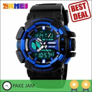 Jam Tangan Pria Dual Time SKMEI Casio Men Sport Original AD1117 Biru