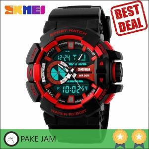 Jam Tangan Pria Dual Time SKMEI Casio Men Sport Original AD1117 Merah