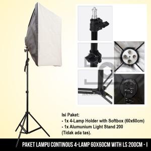Paket Lampu Continous 4-Lamp 60x60cm with LS 200cm - 1