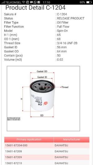 """Filter oli Suzuki Esteem C-1204 Sakura """" 14996 """""""