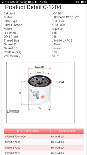 "Filter oli Suzuki APV C-1204 Sakura "" 14996 """