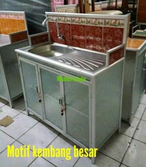 Meja Wastafel Cuci Piring Rak Keramik Kran Stainless Steel