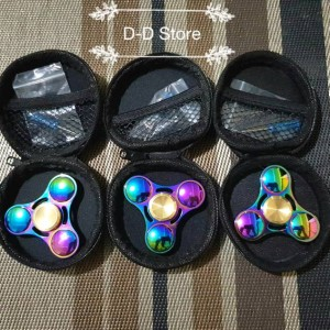 fidget spinner ufo bubble tri ball rainbow titanium original tiga bola