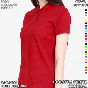 COUNTRY FIESTA P312 Original Kaos Wanita Polo Shirt Cotton Maroon