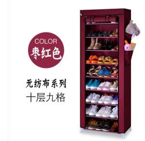 Shoe Rack with Dusk Cover Rak Sepatu 10 Tingkat Lemari Kain Serbaguna