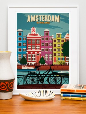 Poster Travel time - amsterdam