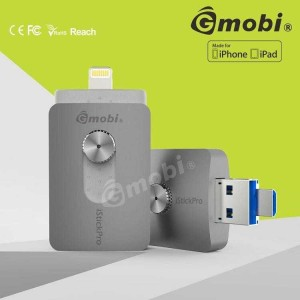 Flashdisk Gmobi iStick Pro 64GB 3 in 1 Micro-Lightning-USB 3.0 SILVER