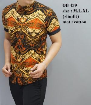 Batik Modern / Baju Pria / Kemeja Pendek Formal / Atasan Batik OB439