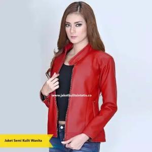 Jaket/Blazer/Outerwear Semi Kulit Sintetis ABG Polos Casual Wanita