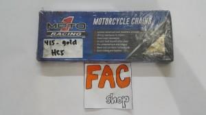 rantai motor moto 1 racing 415 warna gold.