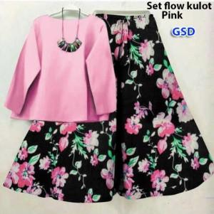 Gsd Setelan Baju Wanita Motif Bunga Set Flow Kulot Tosca Daftar Source · Baju Setelan Kulot Wanita Setelan flow kulot pink