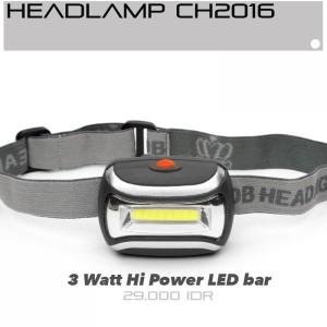 Senter kepala Headlamp CH2016 head lamp COB LED 3W