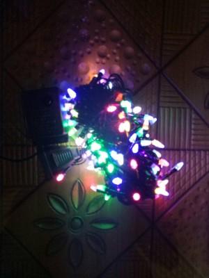 Lampu Natal 100 LED 10 Meter Warna Warni Kepala Roket Colokan Sambung