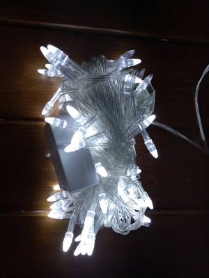 Lampu Natal 100 LED 10 Meter Warna Putih Kepala Roket Colokan Sambunga