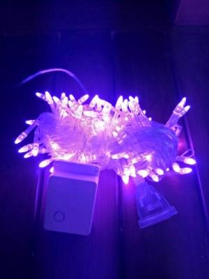 Lampu Natal 100 LED 10 Meter Warna Ungu Kepala Roket Colokan Sambungan