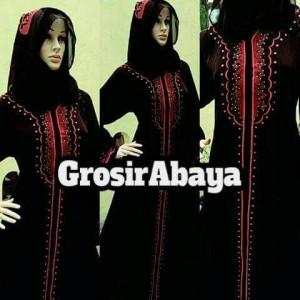 Abaya gamis busana muslim motif bordir dubai merah plus pasmina